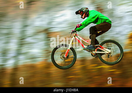 Panning of downhill rider jumping from a table top - Stock Photo
