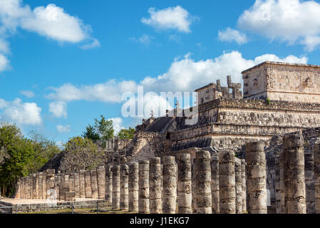 Thousand columns and temple of the warrior in the ancient Mayan ruins of Chichen Itza, Mexico - Stock Photo