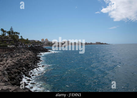 Las Americas,Tenerife/Spain-March 30, 2017: Tenerife coast line stretching out to the horizon on a sunny day. - Stock Photo