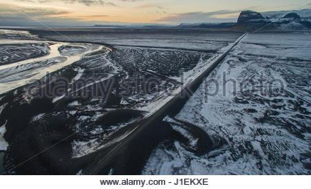 Aerial of Iceland's Ring Road as it passes through the Skaftafellsjokull region. - Stock Photo