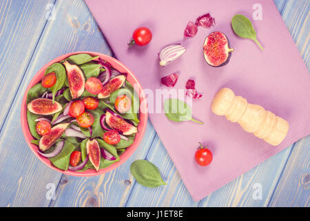 Vintage photo, Fresh prepared fruit and vegetable salad in bowl and ...