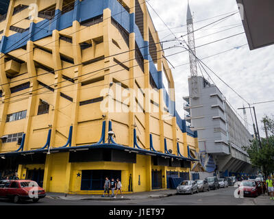 BUENOS AIRES, ARGENTINA - DECEMBER 02, 2016: Outside architecture and colors of Boca Juniors stadium also known - Stock Photo