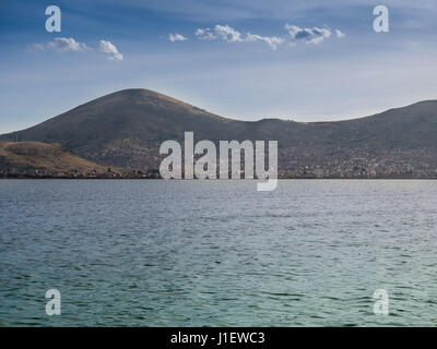 Puno City on the shore of Lake Titikaka Peru South America - Stock Photo