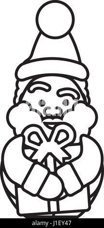 santa claus christmas character icon - Stock Photo