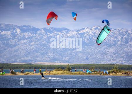 Kiteboarding Kitesurfing Extreme Sport in Nin Croatia - Stock Photo