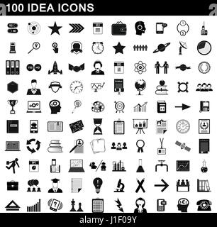 100 idea icons set, simple style - Stock Photo