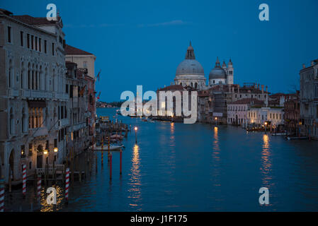 Venice Grand Canal at dusk, view from Ponte dell Accademia bridge. - Stock Photo