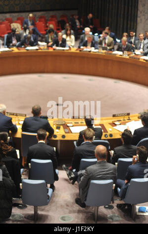 New York, USA. 20th Apr, 2017. The UN Security Council meets on Thursday to discuss issues relating to the Middle - Stock Photo