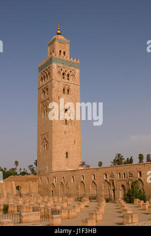 Koutoubia minaret and mosque. Historic building in the center of Marrakesh, Morocco. - Stock Photo