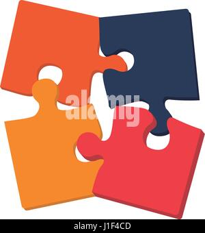 puzzle pieces together - Stock Photo