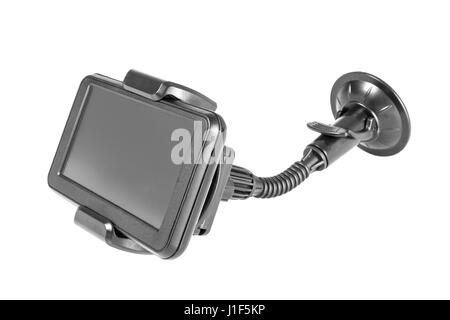 Car gps or navigator device with holder isolated on white background. - Stock Photo