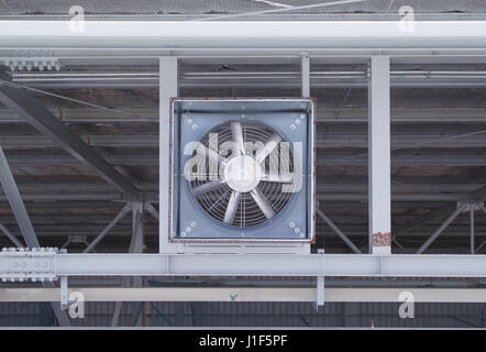 Fan on steel structure for ventilation system and air conditioner system of industrial building. - Stock Photo