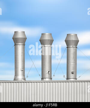 Air duct or steel pipe on roof of factory building with blue sky background. - Stock Photo