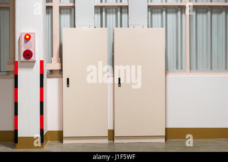 Electrical cabinet control box panel isolated on white background. - Stock Photo