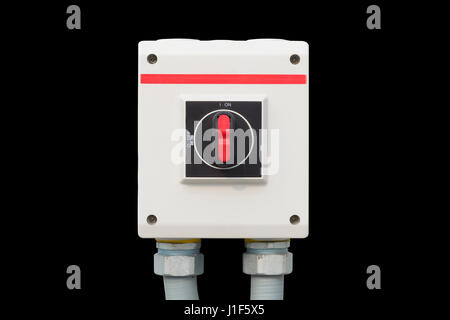 Industrial switch control button for electrical isolated on white background. - Stock Photo