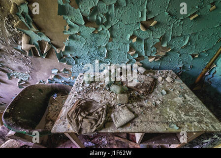 One of building of hospital complex in Pripyat ghost city of Chernobyl Nuclear Power Plant Zone of Alienation in - Stock Photo