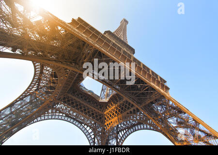 Angle shot of The Eiffel tower in Paris, France - Stock Photo
