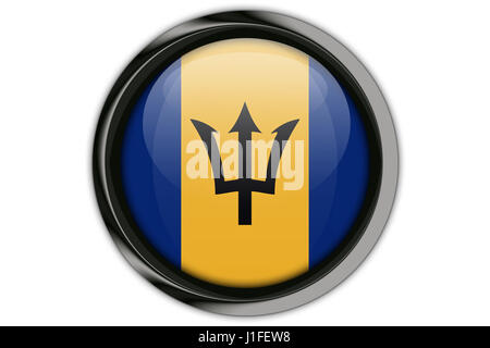 Barbados flag in the button pin Isolated on White Background - Stock Photo