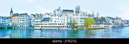 The Lindenhof hill at the Limmat river occupied with historic quarter Schipfe, Zurich, Switzerland. - Stock Photo