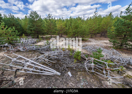 Elements of Duga radar system in Chernobyl-2 military base, Chernobyl Nuclear Power Plant Zone of Alienation in - Stock Photo