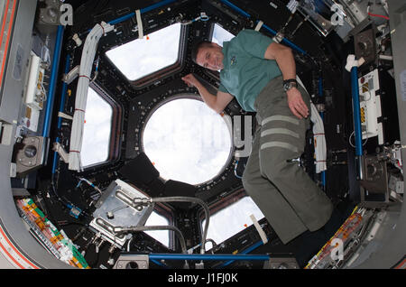 NASA International Space Station STS-130/Expedition 22 joint mission prime crew astronaut George Zamka floats near - Stock Photo