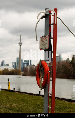 An emergency rescue floatation device on the Toronto Islands. - Stock Photo