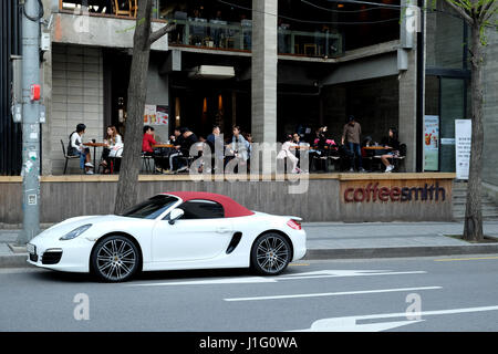 Porsche and Coffee Shop, Hongdae, Seoul, South Korea - Stock Photo