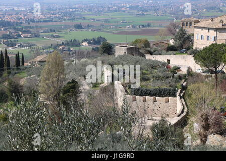 Valley of Tescio, Province of Perugia in the Umbria region, on the western flank of Monte Subasio, Italy - Stock Photo