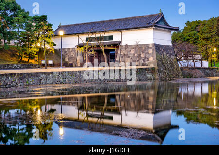 Tokyo, Japan Imperial Palace moat and gate. - Stock Photo