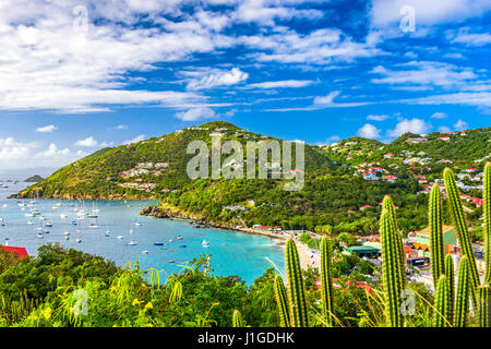 Saint Barthelemy skyline and harbor in the West Indies of the Caribbean. - Stock Photo