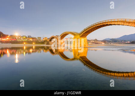 Iwakuni, Yamaguchi, Japan at Kintaikyo Bridge at night. - Stock Photo