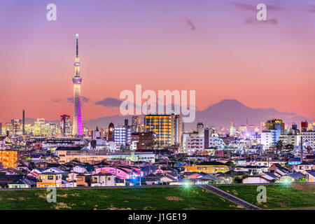 Tokyo, Japan skyline with Mt. Fuji and the Skytree Tower. - Stock Photo