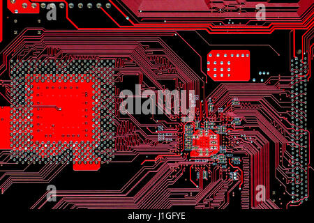electronic multi layer red printed circuit computer motherboard - Stock Photo