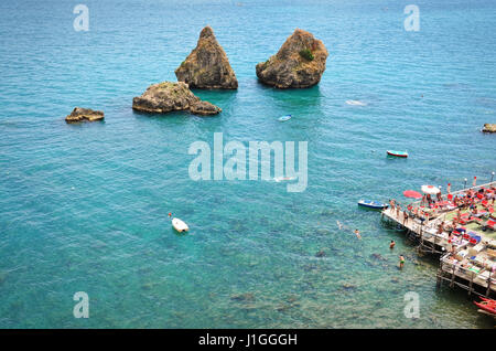 The two brothers (Due Fratelli) of Vietri sul Mare, Italy. Two typical rocks of the Amalfi Coast in the province - Stock Photo
