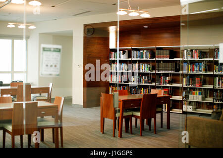DUBAI, UNITED ARAB EMIRATES - December 23, 2009: The library on the first floor of Michigan State University in - Stock Photo