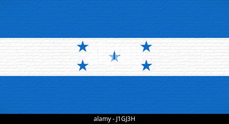 Illustration of the national flag of Honduras looking like it is painted onto a wall - Stock Photo