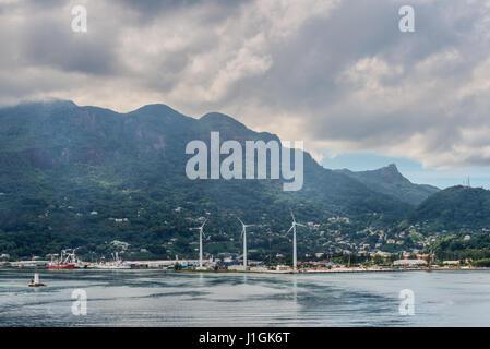 Victoria, Mahe island, Seychelles - December 17, 2015: Panoramic view of the Port Victoria harbor, Mahe island, - Stock Photo