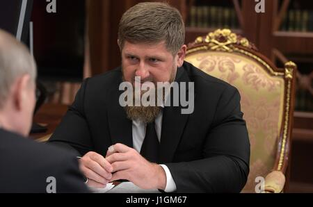 Chechen leader Ramzan Kadyrov during a bilateral meeting with Russian President Vladimir Putin at the Kremlin April - Stock Photo