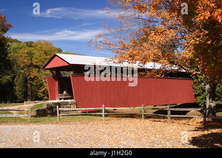 Staats Mill Covered Bridge In Autumn - Stock Photo
