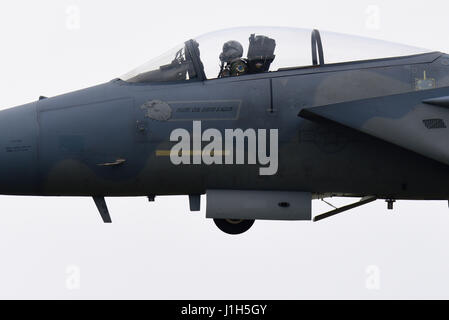 United States Air Force Boeing MDD F-15 Eagles of 493rd Fighter Squadron 'Grim Reapers' at RAF Lakenheath, Suffolk, - Stock Photo