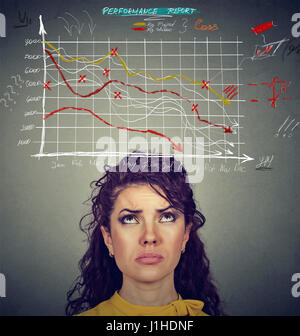 Worried woman looking at financial charts going down. Investment risk concept - Stock Photo