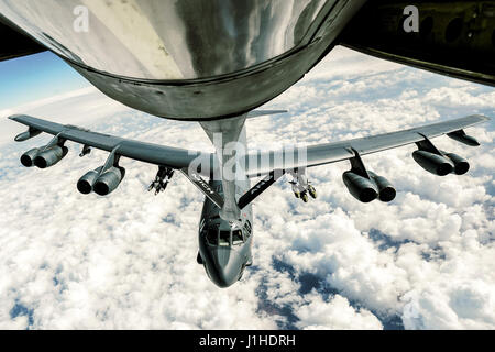 Air Force B-52 Stratofortress refuels from a 340th Expeditionary Air Refueling Squadron KC-135 Stratotanker - Stock Photo