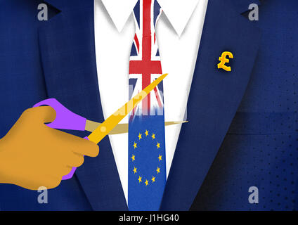 Cutting ties with Europe Hard BREXIT - Stock Photo