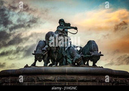 Image of the Gefion fountain at dusk. Copenhagen, Denmark. - Stock Photo
