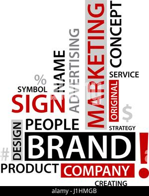 Word Cloud with branding tags,  business concept - Stock Photo