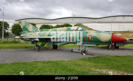 Mikoyan Gurevich MiG-21 PFM exhibited by the association of the Ailes Anciennes de Toulouse in Blagnac, France. - Stock Photo