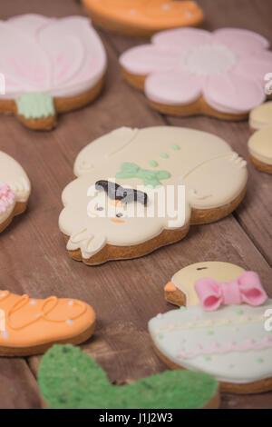 gingerbread edible cookies, funny cute character, closeup - Stock Photo