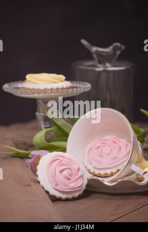 gingerbread cookies, funny cute character wood flowers - Stock Photo