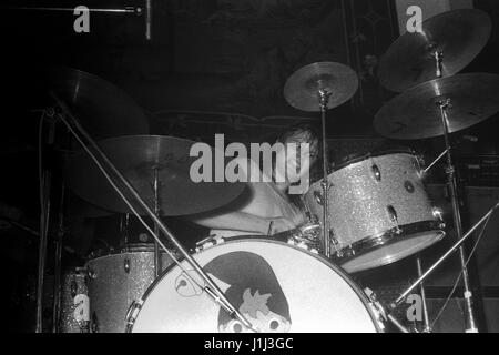 First public performance of EMERSON LAKE AND PALMER: Carl Palmer performs with UK progressive rock band ELP at Plymouth - Stock Photo