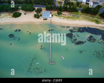 Aerial view of Sorrento Long Pier and The Baths Restaurant. Mornington Peninsula, Melbourne, Australia - Stock Photo